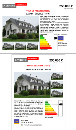 Modele annonce vente maison avie home for Annonce immobiliere agence