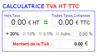 Calculatrice de tva ht ttc