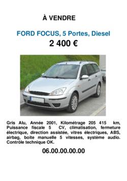 Un modèle d'affiche de vente pour vendre sa voiture d'occasion