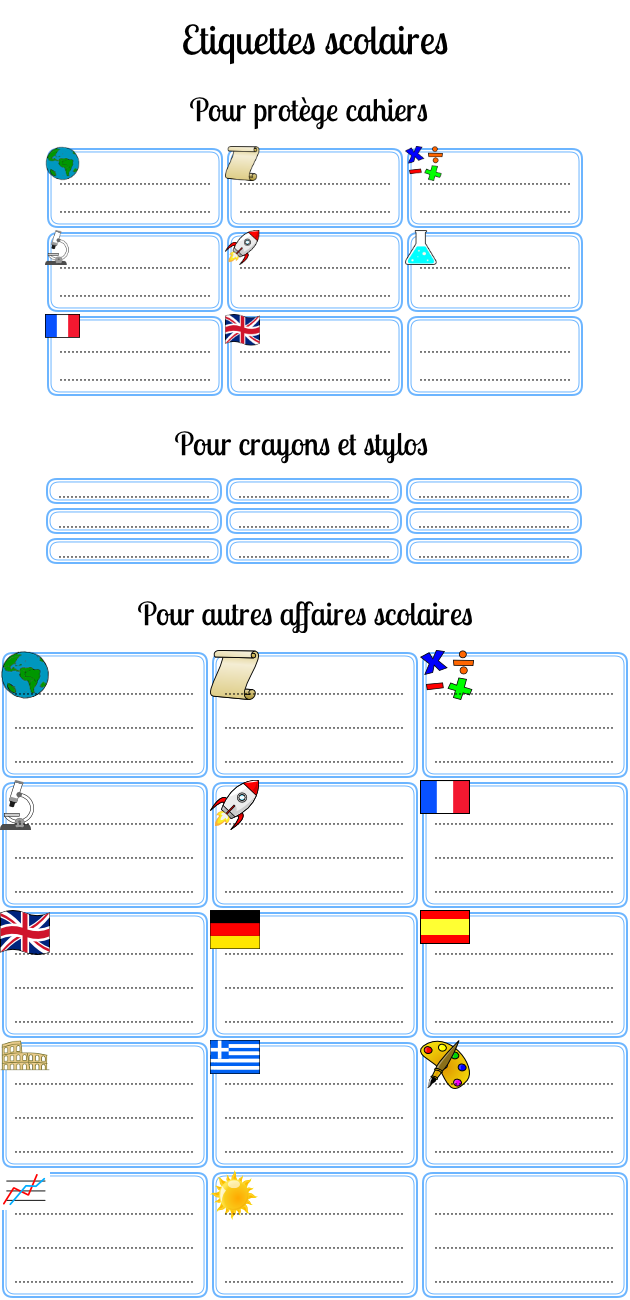 Populaire Étiquettes scolaires gratuites pour l'école à imprimer - Parchance.fr DA59