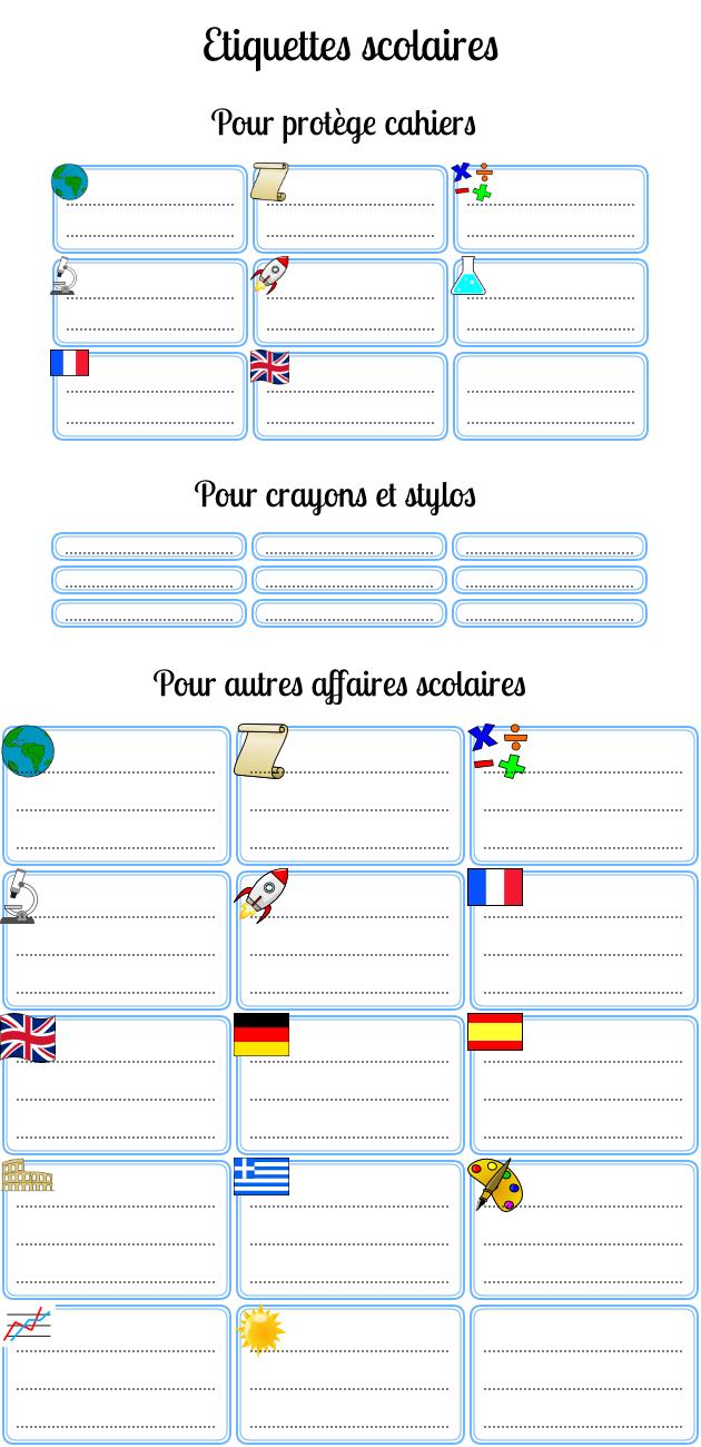 Populaires Étiquettes scolaires gratuites pour l'école à imprimer - Parchance.fr ES59