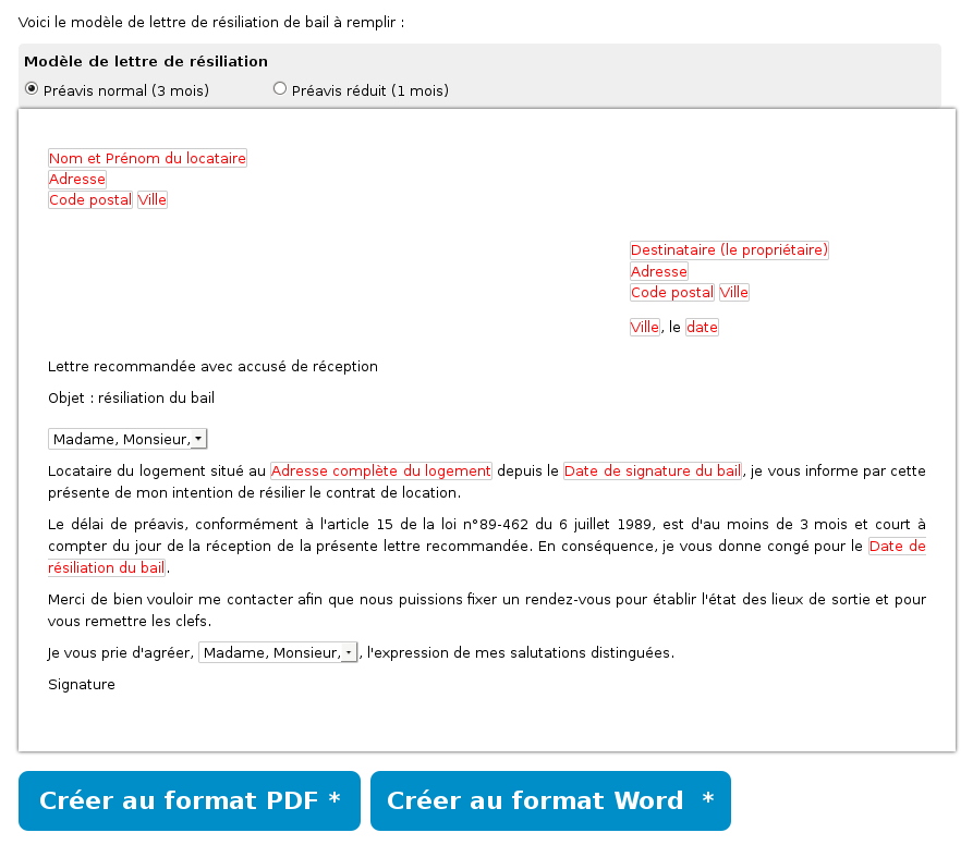 Modele resiliation bail meuble par proprietaire document online - Donner conge a son proprietaire ...